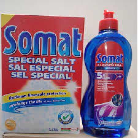Combo muối rửa bát somat 1,2kg và chai nước làm bóng 750ml giá rẻ
